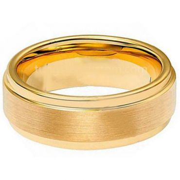 **COI Gold Tone Tungsten Carbide Polished Shiny Matt Step Edges Ring - TG1942A