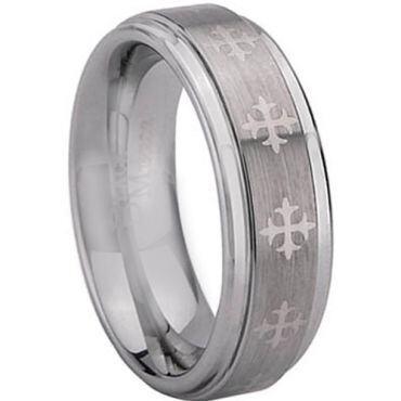 COI Tungsten Carbide Cross Step Edges Ring - TG1971