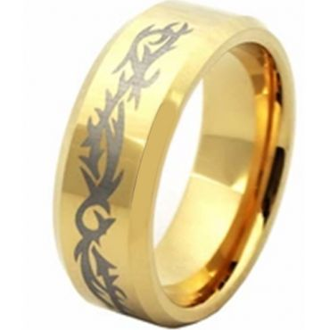 COI Gold Tone Titanium Celtic Beveled Edges Ring - JT3837