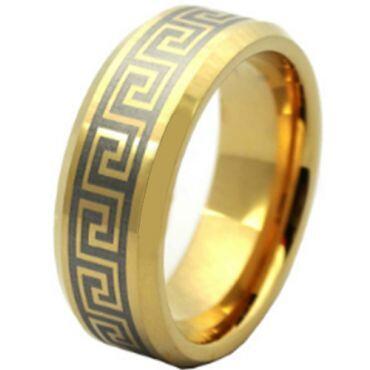 COI Gold Tone Tungsten Carbide Greek Key Ring - TG4185