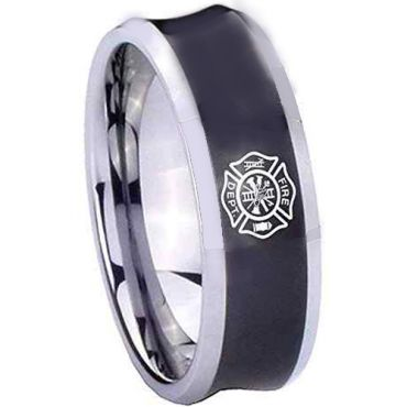 COI Tungsten Carbide Black Silver Firefighter Concave Ring-2030