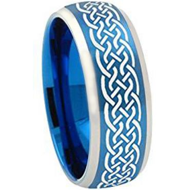 COI Tungsten Carbide Blue Silver Celticd Ring - TG2043AA