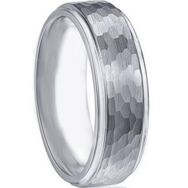 COI Titanium Hammered Step Edges Ring - JT3851