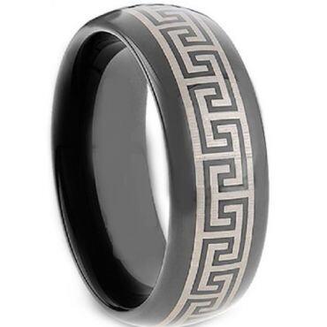 COI Black Tungsten Carbide Greek Key Ring - TG2117A