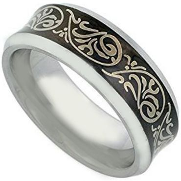 *COI Tungsten Carbide Black Silver Celtic Ring - TG2120