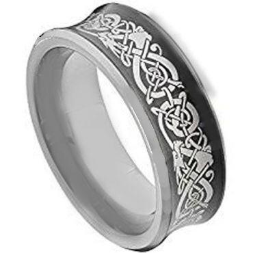 COI Tungsten Carbide Black Silver Dragon Concave Ring - TG2130AA