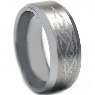 COI Tungsten Carbide Celtic Beveled Edges Ring - TG2172
