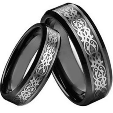 COI Black Tungsten Carbide Celtic Beveled Edges Ring-TG2189