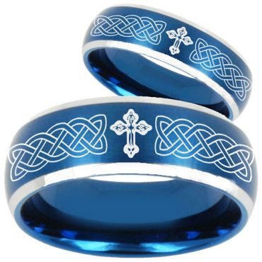 COI Tungsten Carbide Blus Silver Cross Celtic Ring - TG2204BB