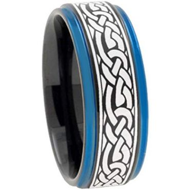 COI Tungsten Carbide Black Blue Celtic Step Edges Ring-TG2211