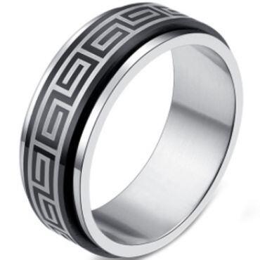 COI Tungsten Carbide Black Silver Greek Key Ring-2246