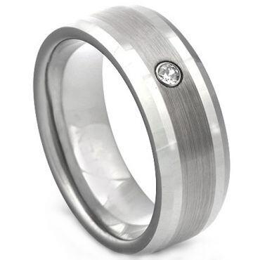 COI Titanium Dome Court Ring With Cubic Zirconia - 2250