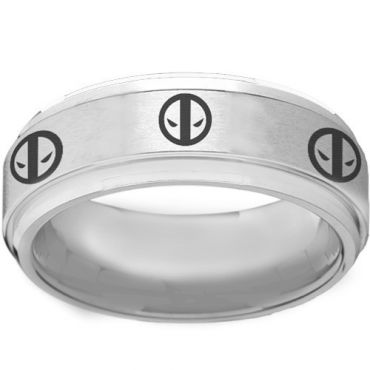 COI Tungsten Carbide DeadPool Step Edges Ring-TG2261