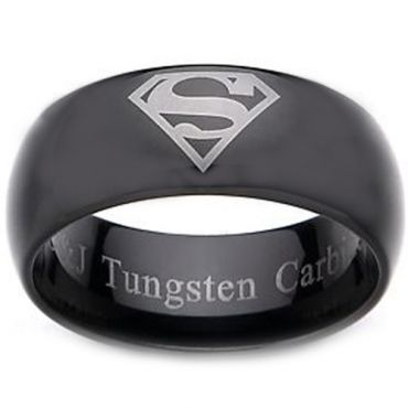 COI Black Tungsten Carbide Superman Dome Court Ring - TG2277
