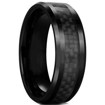 COI Black Tungsten Carbide Ring With Carbon Fiber-TG2289