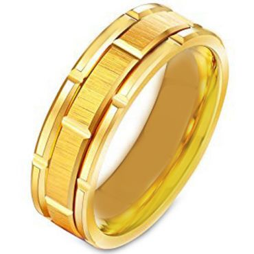 COI Gold Tone Tungsten Carbide Brick Pattern Ring-TG231B
