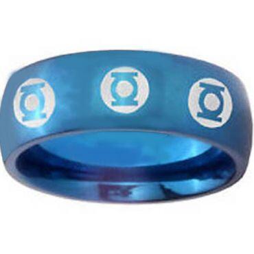 COI Blue Titanium Green Lantern Dome Court Ring - JT2322