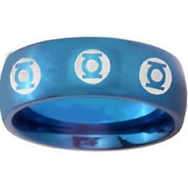 COI Blue Tungsten Carbide Green Lantern Ring-TG4429