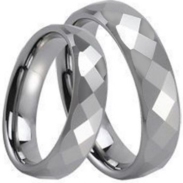 COI Tungsten Carbide Faceted Wedding Band Ring - TG234