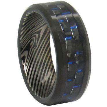 COI Black Tungsten Carbide Damascus Carbon Fiber Ring - TG347CC