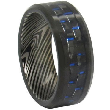 COI Black Titanium Carbon Fiber Damascus Ring-JT2367