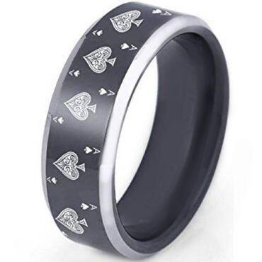 COI Tungsten Carbide Black Silver Aces of Spades Ring - TG2372CC