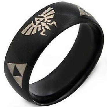 COI Black Tungsten Carbide Legend of Zelda Dome Ring-2376
