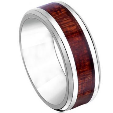 COI Tungsten Carbide Beveled Edges Ring With Wood - TG2594