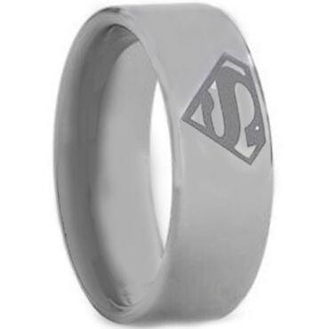 **COI Titanium Superman Pipe Cut Flat Ring - JT2400