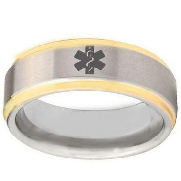 COI Tungsten Carbide Gold Tone Silver Medical Alert Ring-TG2407B