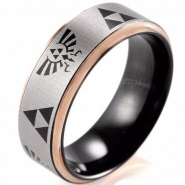 COI Tungsten Carbide Black Rose Legend of Zelda Ring - TG2410B