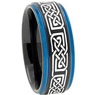 COI Tungsten Carbide Black Blue Celtic Step Edges Ring - TG2422A