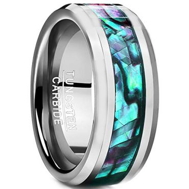COI Tungsten Carbide Abalone Shell Ring-TG2436