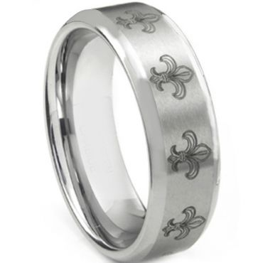 COI Tungsten Carbide Fleur De Lis Beveled Edges Ring - TG2535