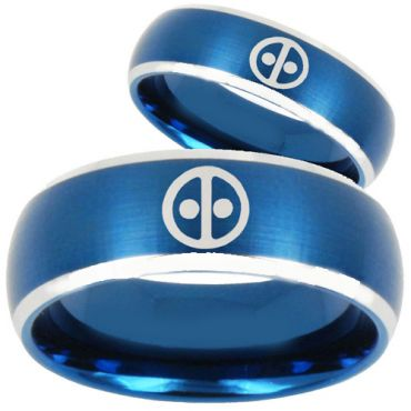 COI Tungsten Carbide Blue Silver DeadPool Ring - TG253BB