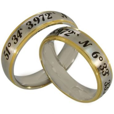 COI Tungsten Carbide Gold Tone Custom Coordinate Ring-5148
