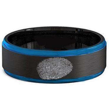COI Tungsten Carbide Black Blue Custom FingerPrint Ring-TG2581A