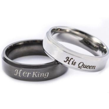 *COI Titanium Black/Silver King Queen Beveled Edges Ring - 2583