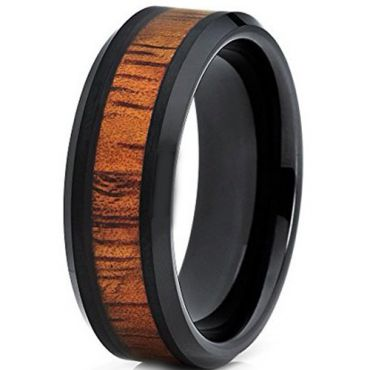 COI Black Tungsten Carbide Beveled Edges Ring With Wood-TG2614