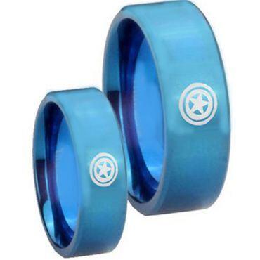 COI Blue Titanium Captain America Pipe Cut Flat Ring - JT2657