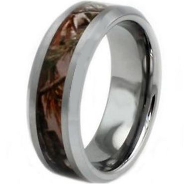 COI Titanium Camo Beveled Edges Ring - JT2679