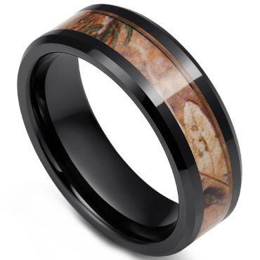 COI Black Tungsten Carbide Camo Beveled Edges Ring-TG3750