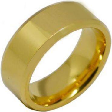 COI Gold Tone Tungsten Carbide Beveled Edges Ring - TG1936