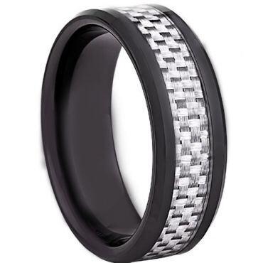 !COI Black Titanium Carbon Fiber Beveled Edges Ring - JT2728