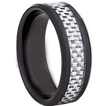COI Black Tungsten Carbide Ring With Carbon Fiber-TG2288