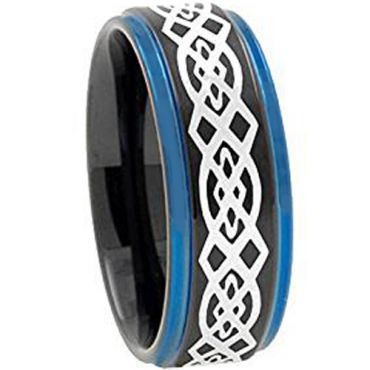 COI Tungsten Carbide Black Blue Celtic Step Edges Ring - TG2730