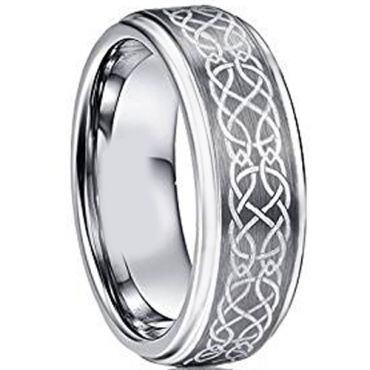 *COI Tungsten Carbide Celtic Step Edges Ring - TG2760AA
