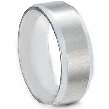 **COI Tungsten Carbide Polished Shiny Matt Beveled Edges Ring - TG613