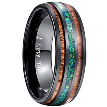 COI Black Tungsten Carbide Green Crushed Opal & Wood Ring - 279