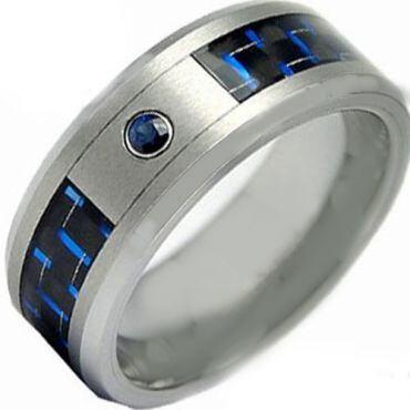 COI Titanium Carbon Fiber Created Blue Sapphire Ring-JT2802A